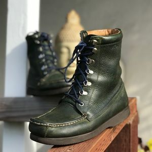 Vintage LL Bean Mens Green Leather Field Boots